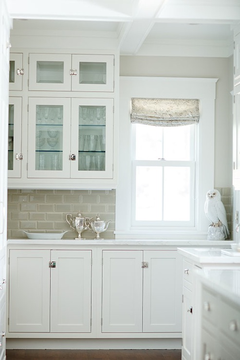 Gray subway tile backsplash transitional kitchen for Grey green kitchen cabinets