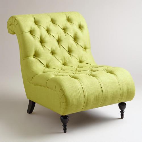 Green Tufted Devon Slipper Chair