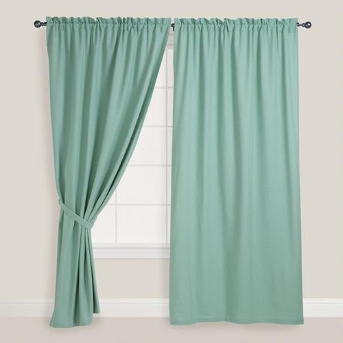 Green Curtains blue and green curtains : DwellStudio Regency Linen Blue Green Curtain Panel