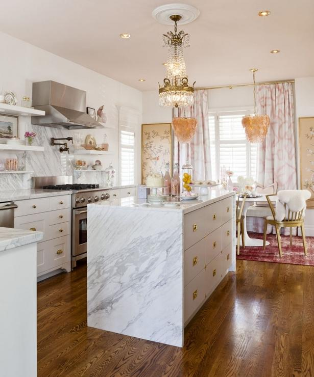 Waterfall Kitchen Island Inspiration: Calcutta Gold Marble Waterfall Countertop Design Ideas