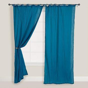 Ocean Blue Crinkle Voile Curtain, World Market