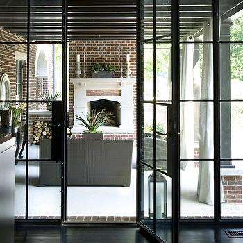 Gray Steel Double Patio Doors With Glass Panels Transitional
