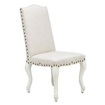 Florette Side Chair With Natural Cover, White, Z Gallerie
