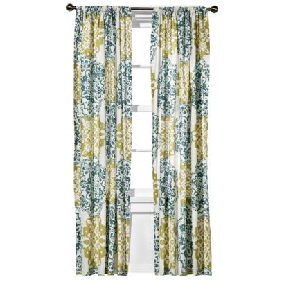 Dwellstudio Regency Linen Blue Green Curtain Panel
