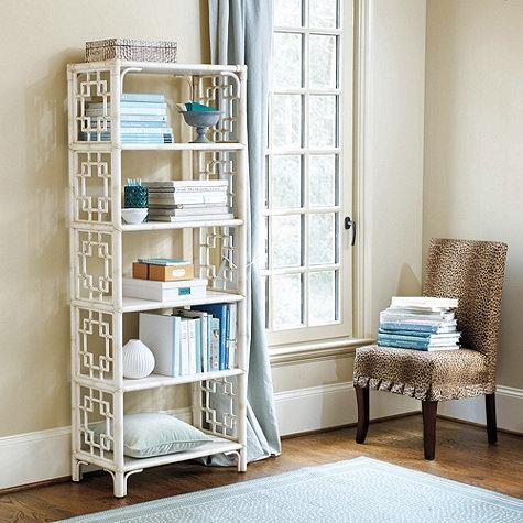 Taryn White Rattan Bookcase
