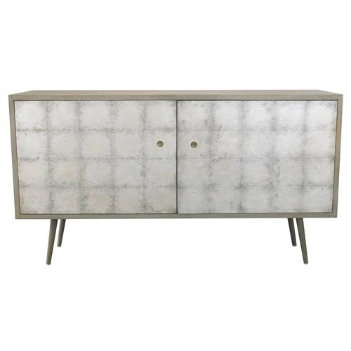 DwellStudio Franklin Media Cabinet Smoke Silver Leaf I Zinc Door