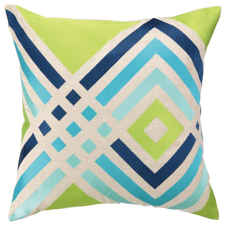 Trina Turk Los Olivos Blue Embroidered Pillow I Zinc Door