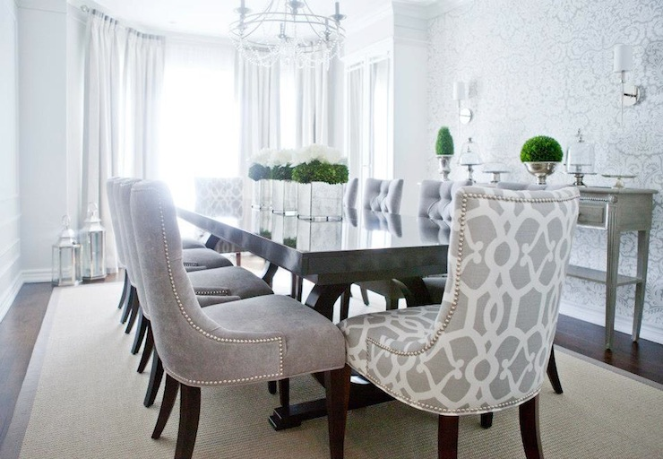 Gray velvet dining chairs transitional dining room for Dining room ideas grey