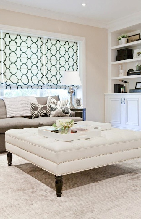 White Tufted Ottoman With Nailhead Trim Contemporary