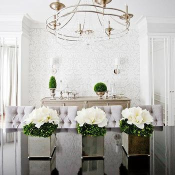 Gray Damask Wallpaper, Transitional, dining room, Lux Decor