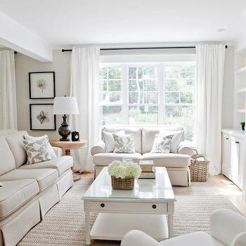 white curtains living room. Monochromatic Living room Sofas Facing Each Other  Contemporary living