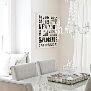 Monochromatic Dining Room, Transitional, dining room, Benjamin Moore Fog Mist, Lux Decor