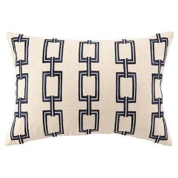 DL Rhein Chain Link Navy Embroidered Pillow I zinc door