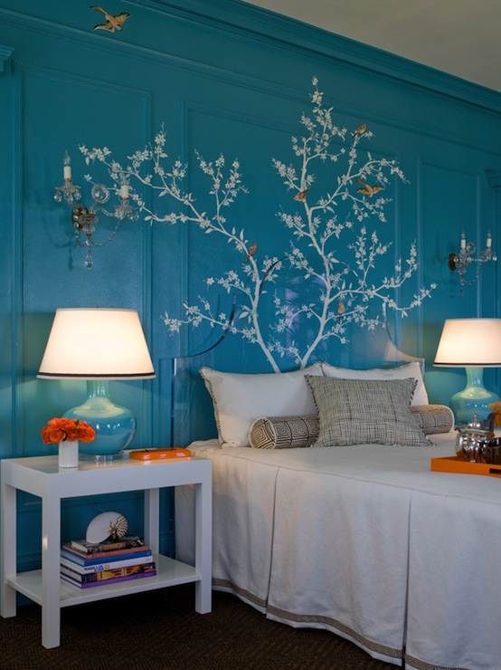 Turquoise And Orange Bedroom