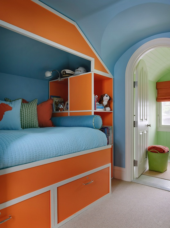 Blue and orange boy 39 s room contemporary boy 39 s room for Blue and orange room