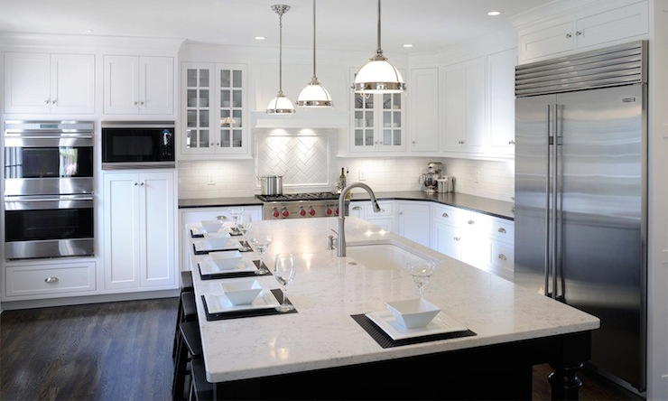 White Granite Countertops Traditional Kitchen Mullet
