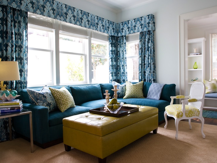 Turquoise Sectional Sofa Contemporary Living Room Kendall Wilkinson Design