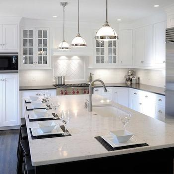 Mullet Cabinets · White Granite Countertops