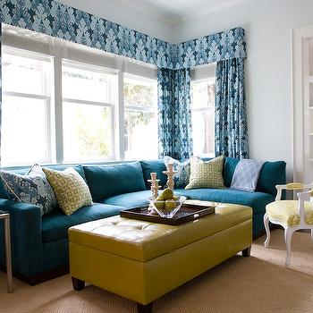 Turquoise Sectional Sofa, Contemporary, living room, Kendall Wilkinson Design