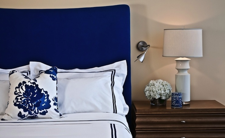 Cobalt Blue Headboard Transitional Bedroom Sue Firestone