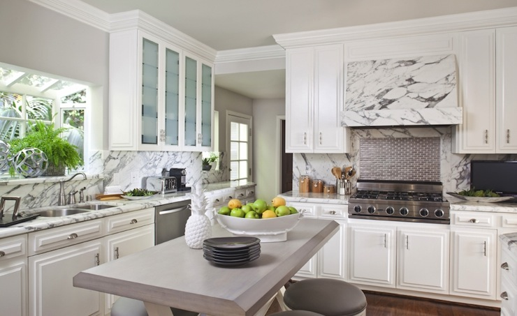 Transitional White Kitchen Cabinets marble kitchen hood - transitional - kitchen - sue firestone