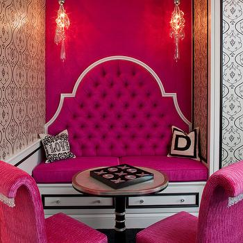 Pink Tufted Banquette Bench, Hollywood Regency, den/library/office, Sue Firestone