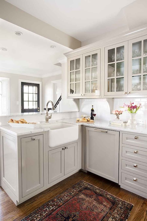 Light gray kitchen cabinets transitional kitchen for Kitchen ideas light grey