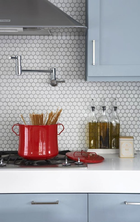Hex Tile Backsplash Contemporary Kitchen Terracotta