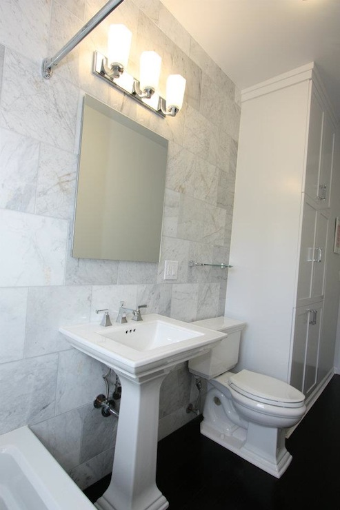 White Bianco Carrara Marble Transitional Bathroom