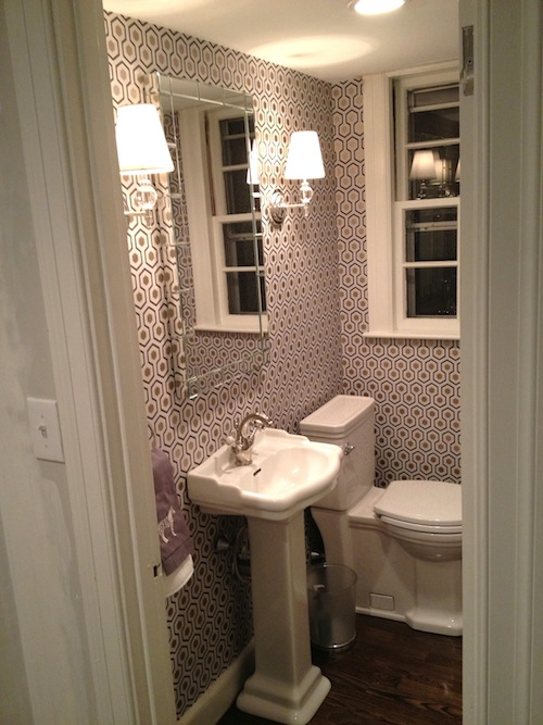 Hicks Hexagon Wallpaper Contemporary Bathroom Erin