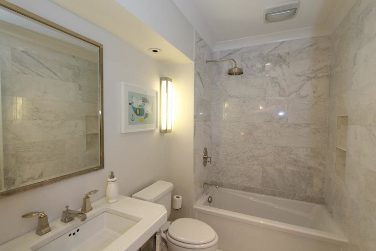 Marble shower surround transitional bathroom design for Bathroom design build