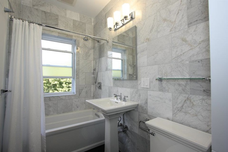 Gray subway tile contemporary bathroom urrutia design - Carrara marble bathroom designs ...