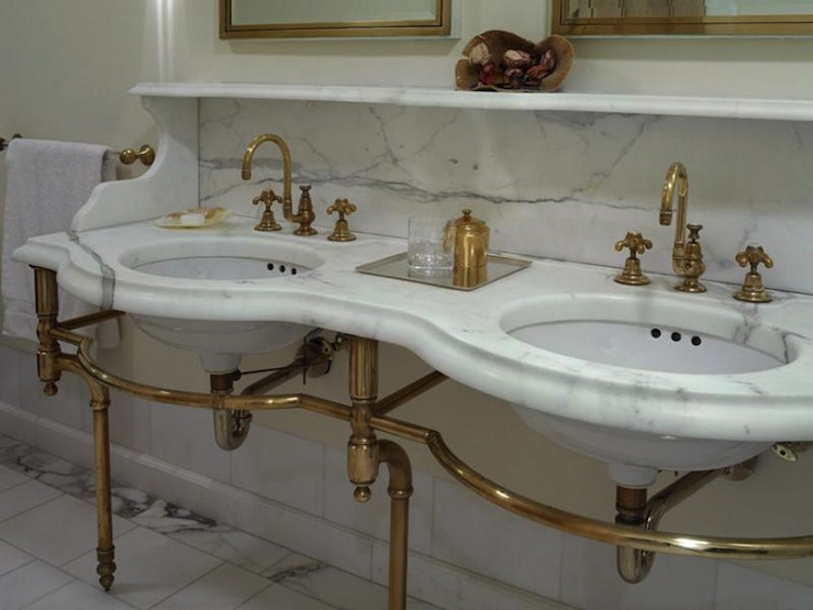 Brass And Marble Washstand