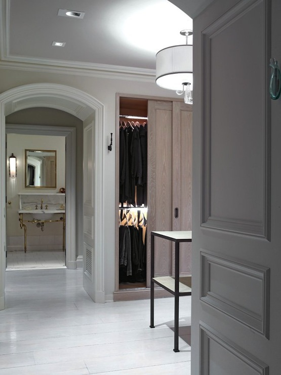 Walk in closet design transitional bathroom kathryn for Master bathroom designs with walk in closets