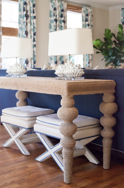 Beachy Colored Living Room With Nautical Accents! A Turned Leg Ismail  Console Is Topped With A Pair Of White Coral Table Lamps.