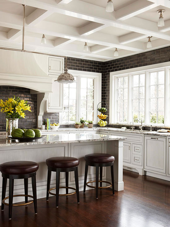 Black Subway Tile Kitchen Transitional Kitchen Bhg