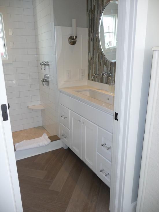 Herringbone Bathroom Floor Contemporary Bathroom