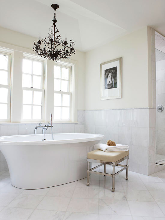 Chandelier over Tub - Traditional - bathroom - BHG