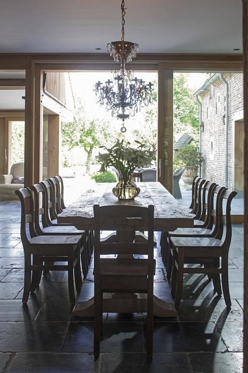 Salvaged Wood Trestle Dining Table. Salvaged Wood Trestle Dining Table   Traditional   dining room