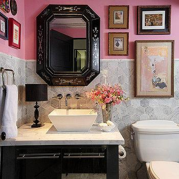 Pink and Gray Powder Room, Eclectic, bathroom, BHG