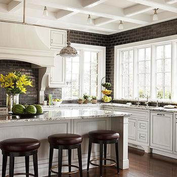 Black Subway Tile Kitchen, Transitional, kitchen, BHG