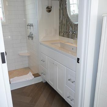 Herringbone Bathroom Floor, Contemporary, bathroom