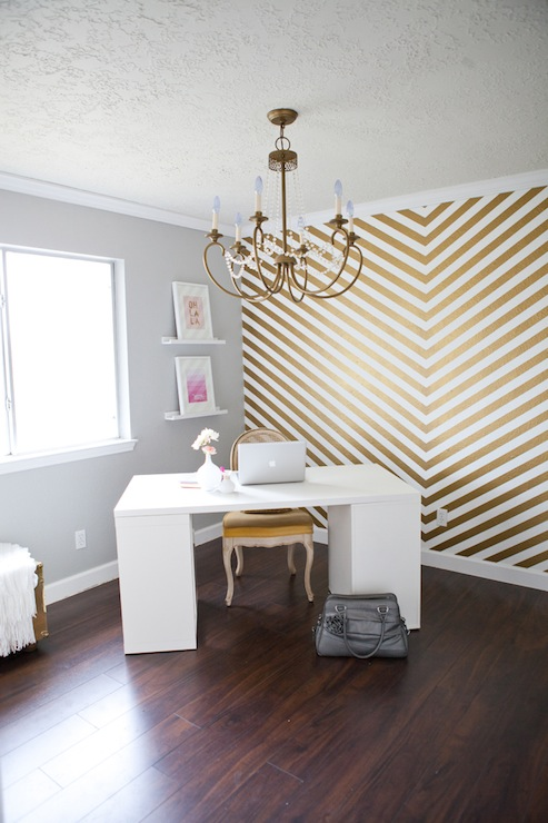 Gold Chevron Wall Contemporary Den Library Office So