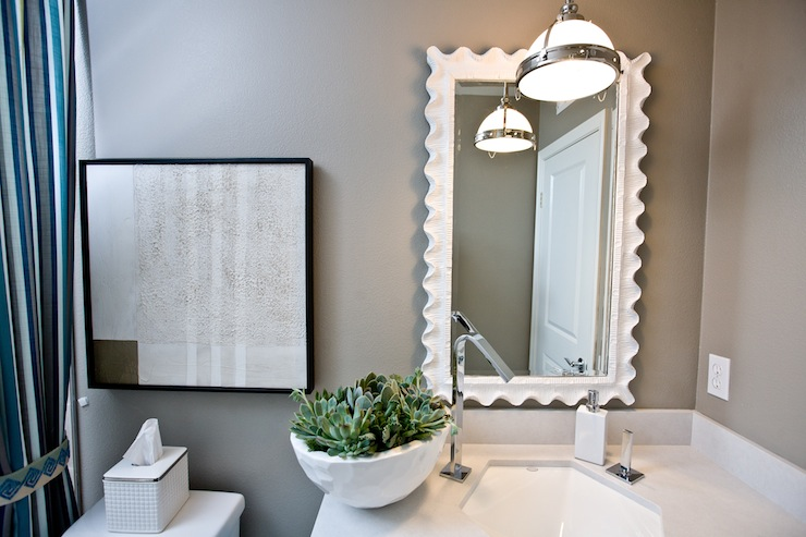 White Scalloped Mirror Contemporary Bathroom Lulu