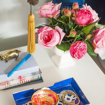 Blue Lacquer Tray, Eclectic, bedroom, Emily Henderson