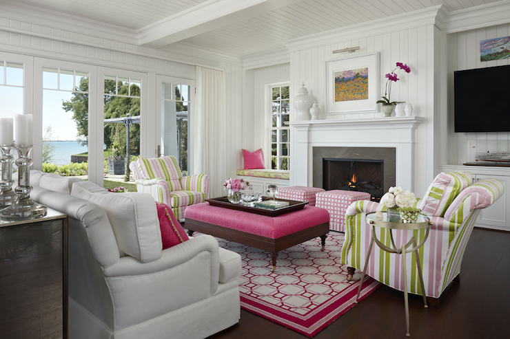 Pink and green living room cottage living room Pink room with white furniture