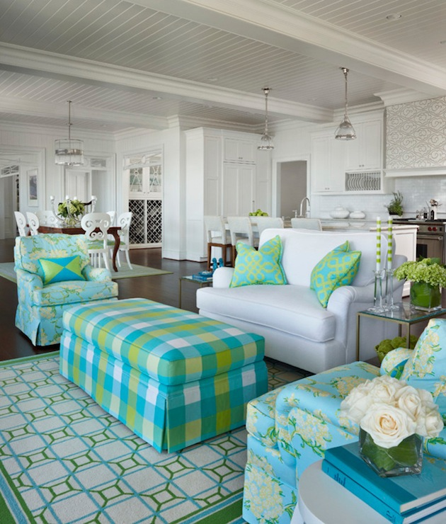 blue and green living room design with white beadboard ceiling