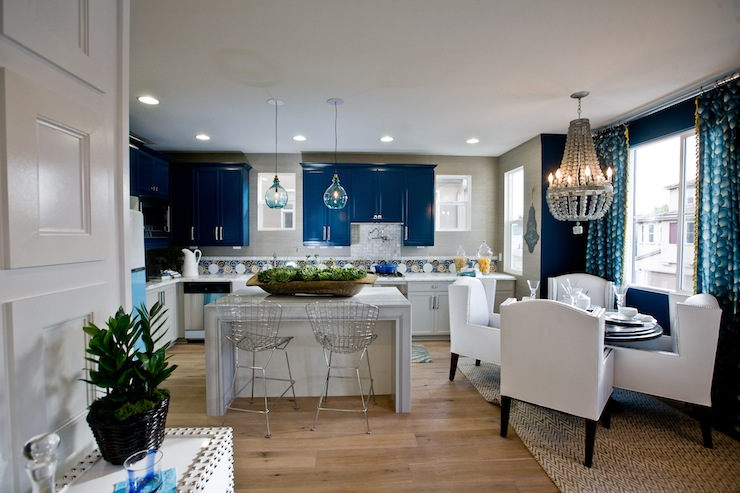 Blue kitchen cabinets contemporary kitchen lulu designs for Blue and white kitchen cabinets