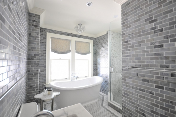 Gray subway tile transitional bathroom meredith for Bathroom ideas gray tile