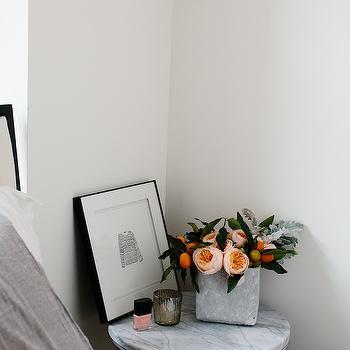 Marble Top Nightstand, Transitional, bedroom
